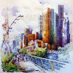 Светлые картины сингапурского художника (20 работ)