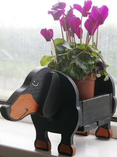 Dachshund Plant Pot Holder Garden Ornaments Decorations Dog Dogs Pet Pets Handmade Planter Window Boxes Novelty