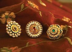 Trio for Mehendi, Sangeet and Wedding. Gold Rings Jewelry, Head Jewelry, Wedding Jewelry, Jewelery, Wedding Gold, Jewelry Sets, Wedding Bands, Manubhai Jewellers, Rajputi Jewellery