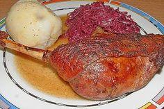 Gänsekeulen im Bratschlauch Steak, Toast, Pork, Food And Drink, Chicken, Breakfast, Recipes, Chef Recipes, Kale Stir Fry