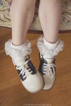 saddle shoes vintage retro navy blue and white ruffle socks