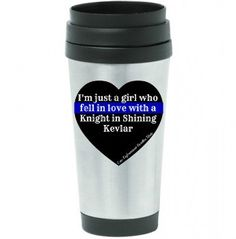 Stainless Steel Insulated Travel Mug with Law Enforcement Thin Blue Line Cute Saying Wife Police Cop Deputy