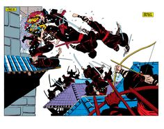 Ninjas double-page spread by Frank Miller from Wolverine Limited Series (Marvel in James Henry's Frank Miller Comic Art Gallery Room Wolverine Comics, Marvel Comics, Frank Miller Art, Frank Miller Comics, Comic Book Artists, Comic Artist, Comic Books Art, Frank Frazetta, Jack Kirby