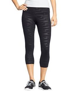 Womens Active by Old Navy Printed-Compression Capris. in blackjack (black printed black), also in cloud cover (grey with printed dots in triangles)