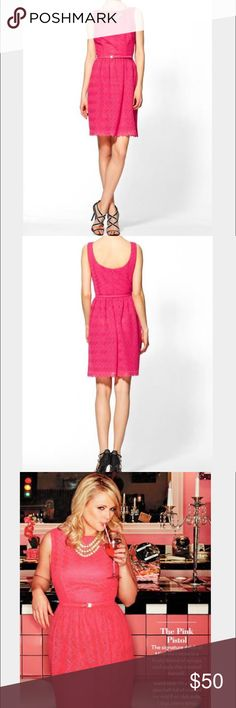 Trina Turk B-52 pink Swizzle dress 💅🏽 EUC Trina Turk pink textured hot pink lace B-52 Swizzle fit and flare dress, very fun color, does not come with the belt, as seen on Miranda Lambert! 💅🏽 Trina Turk Dresses Asymmetrical