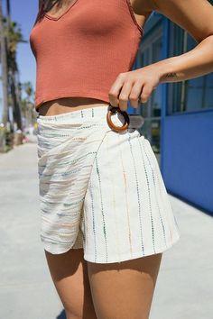 Slide View: 1: UO Striped Wrap Skort Short