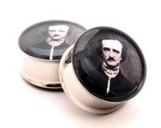 Edgar Allan Poe Picture Plugs gauges - 00g, 1/2, 9/16, 5/8, 3/4, 7/8, 1 inch. $19.99, via Etsy.