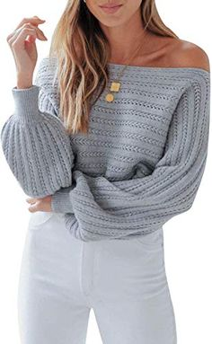 Find Simplee Women's Off Shoulder Lantern Long Sleeeve Knited Pullover Sweater Jumper online. Shop the latest collection of Simplee Women's Off Shoulder Lantern Long Sleeeve Knited Pullover Sweater Jumper from the popular stores - all in one Oversized Knit Cardigan, Knitted Poncho, Jumper Shorts, Off Shoulder Sweater, Pullover Sweaters, Lantern, Sweaters For Women, Clothing, Outfits