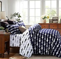 Shark Bedding Sets & Bedroom Decor Cliab Shark Bedding Full Deep Blue and White Reversible 100% Cotton Duvet Cover Set 4 Pieces Shark bedding has arrived on the scene, and it's ready to give any bedroom a fun and funky vibe!  This cool shark bedding can be used in any kid's, teen&#8