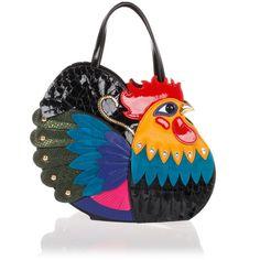 BRACCIALINI Leather mini Handbag Rooster (€706) ❤ liked on Polyvore featuring bags, handbags, multicolor, pocket purse, leather handbag purse, leather hand bags, multi colored leather handbags and real leather handbags