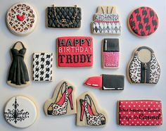 Arty McGoo fashion cookies. How did they get the layers in the dress and the quilting in the Chanel purse?? AWESOME