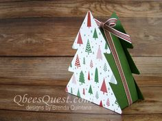 Christmas Tree Boxes | Video Tutorial, Stampin' Up, Ornamental Christmas Framelits, Iconic Christmas Tree Stamp Set, Gift Boxes, Christmas Gifts, Qbee's Quest, Brenda Quintana