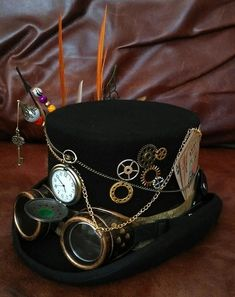 Steampunk - Steampunk Western Festival Black 100% Wool Top Hat Pocket Watch Goggles Grandfather Clock Hands Wheels Cards Mini Gun & Holster Key Cosplay by Mad4Hats
