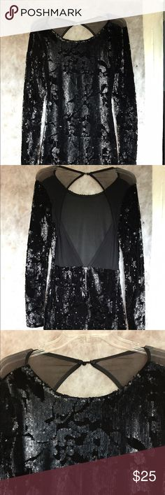 Foreign exchange black dress Black sequin dress from foreign exchange, worn once. No imperfections and very flattering. Long sleeve with back cut out detailing Foreign Exchange Dresses Long Sleeve