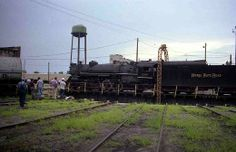 Engine #587 arriving at Frankfort Roundhouse for overnight stay. Taken in 1991