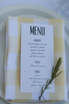 Menu at our italian themed party