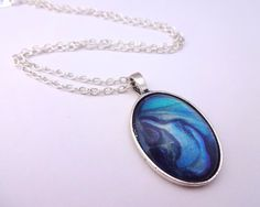 Blue Oval Necklace by ShineOnShopUK on Etsy
