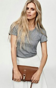 grey tee white skirt brown leather
