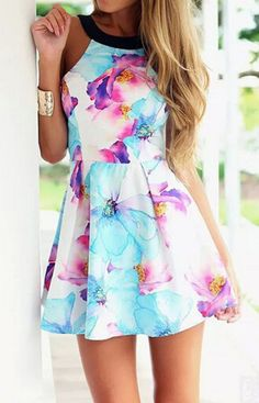 O-Neck Floral Summer Dress – Trendy Road ~~ This would be really pretty if it were longer. Its way too short for any women to be comfortable in it as theyre going to constantly be pulling down unless that's the whole reason, to attract men to themselves. I would add a 2nd layer underneath to make it longer & more comfortable & suitable ~~
