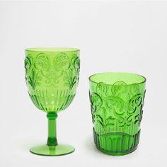 RAISED GREEN WINE GLASS AND TUMBLER - Glassware set - Glassware - Tableware   Zara Home United Kingdom