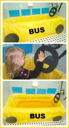 Transform your bath into a bus for tons of imaginative play on a rainy day! My kids loved driving, honking the horn, picking up students, playing school, and singing The Wheels on the Bus over and over again! No need to even fill it up with water! Rainy Day Activities, Learning Activities, Toddler Activities, Transportation Activities, Bath Tub Fun, Kids Bath, Diy For Kids, Crafts For Kids, Rainy Day Fun