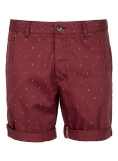 Burgundy Chino Dot Shorts