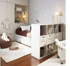 Space-saving design for childrens bedrooms built in and modular furniture