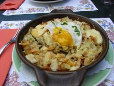 Rosti avec egg and cheese, at Le Prilet in StLuc, Switzerland