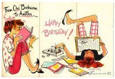 Vintage Greeting Card Girl 1960's Eyeglasses Bookworm Birthday G110   eBay