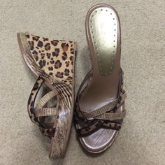 BCBG Leopard Print strappy wedges. BCBG Leopard Print strappy wedges. BCBGirls Shoes