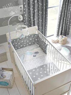 Buy Little Star Cot Bumper from the Next UK online shop Baby Bedroom, Baby Boy Rooms, Baby Room Decor, Baby Boy Nurseries, Kids Bedroom, Star Nursery, Nursery Room, Nursery Curtains, Grey Curtains