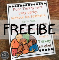 Free Thanksgiving Behavior Managment Sign {Turkey Poem}