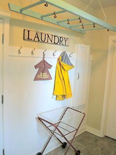 Turn an old ladder into a laundry room drying rack/clothes hanger.