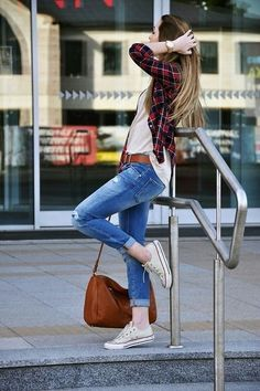 white t-shirt, black + red + white flannel, medium wash skinny jeans & white converse