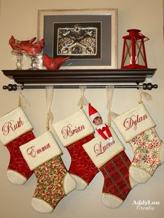 clever option if no mantle is available i also like hanging the stockings with sheer