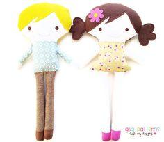 Patron de couture poupée PDF - fille et garçon poupée couture patron peluche tissu poupée modèle