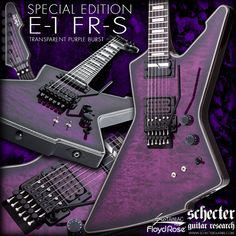 Schecter Special Edition E-1 FR-S with Floyd Rose Transparent Purple Bust