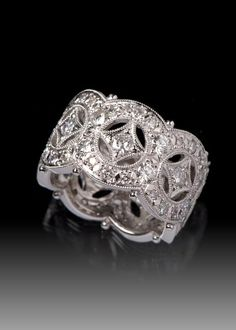 JPratt Designs: Custom designed platinum and diamond intricate wide band