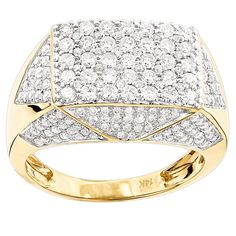 This Gold Mens Diamond Ring is versatile design which can be used as a pinky ring and also makes a unique wedding band, weighs approximately 10 grams and showcases carats of genuine sparkling diamonds. Featuring an oversized design and a highly p Diamond Rings, Diamond Jewelry, Diamond Cuts, Gold Jewelry, Men's Jewelry Rings, Ring Watch, Wedding Ring Bands, Fashion Rings, Rings For Men