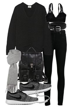 """""""Untitled #19165"""" by florencia95 ❤ liked on Polyvore featuring Paige Denim, Acne Studios, Proenza Schouler, NIKE, Monica Vinader, Boutique Moschino, Aerie and Mulberry"""