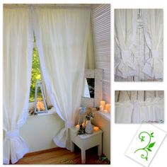 Oryginal natural white curtains. Decorated with cotton lace. Beautiful window decoration. Perfect for rustic, vintage, chabby chic and cottage  interior. Made of natural cotton blend fabric with linen and elana
