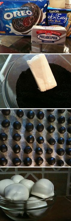 White Chocolate Covered Oreo Balls @Cheyenne Blue THIS IS ALMOST WHAT WE SHOULD DO!!!! Except with just the cream :)