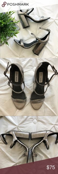 4e449170fcc Steve Madden Silver Metallic Strappy Heels Size 9 Never worn them outside  the house. Metallic