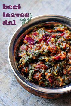 Beetroot Leaves Dal - Masoor Dal Recipe with Beet Leaves