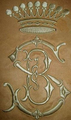 Old monogram with crown