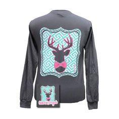 Girlie Girls Prep Deer Long Sleeve T- Shirt