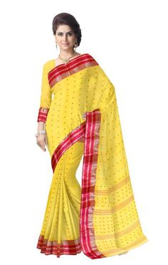 Striped Pattern Bengali Tant Saree- Yellow
