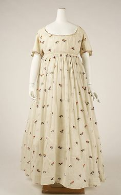 Floral-print cotton dress, British, 1796-98.