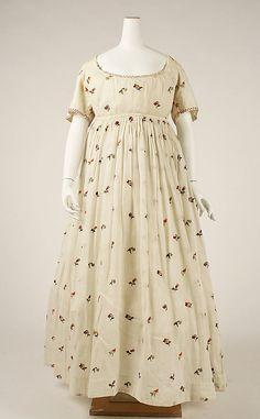 Floral-print cotton dress, British, 1796-98.