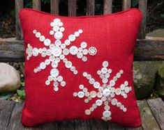 Not just for the Holidays, but perfect for your Winter Decor - Enjoy!  Holiday Snowflake Pillow, Red Burlap Pillow, Holiday Pillow, Christmas Pillow - I am working hard at keeping up with stock on these pillows, they sell rather quickly - if you would like more than one, please either send a custom request or a conversation to me.  Let it snow, let it snow, let it snow! When it snows as pretty as this Snowflake Pillow, you want the snow to keep on coming. A beautiful Red Burlap fabric has…